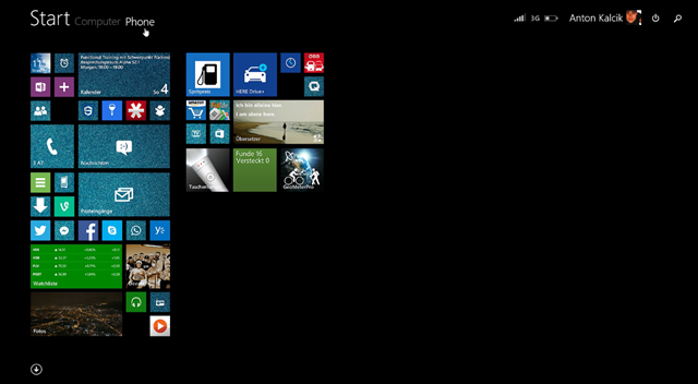 Start screen with the Windows Phone tiles